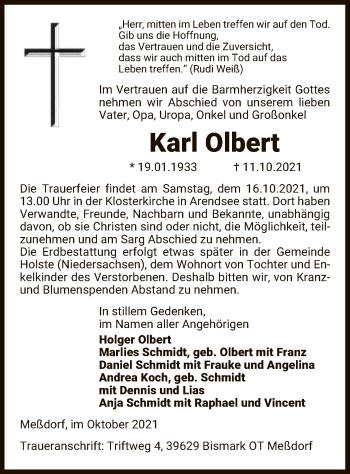 Traueranzeige von Karl Olbert von UEL
