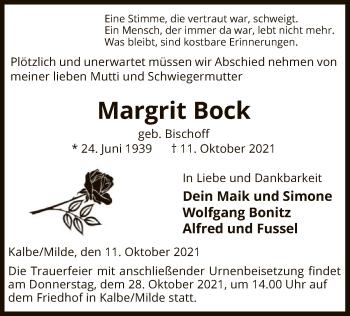 Traueranzeige von Margrit Bock von UEL