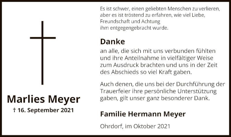 Traueranzeige für Marlies Meyer vom 09.10.2021 aus UEL
