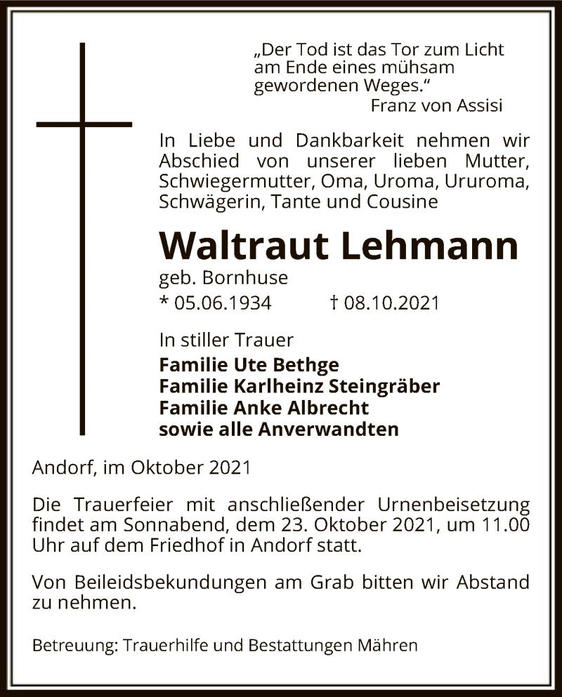 Traueranzeige für Waltraut Lehmann vom 13.10.2021 aus UEL