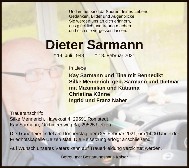 Traueranzeige für Dieter Sarmann vom 24.02.2021 aus UEL