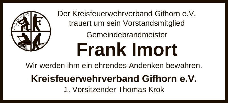 Traueranzeige für Frank Imort vom 23.02.2021 aus UEL
