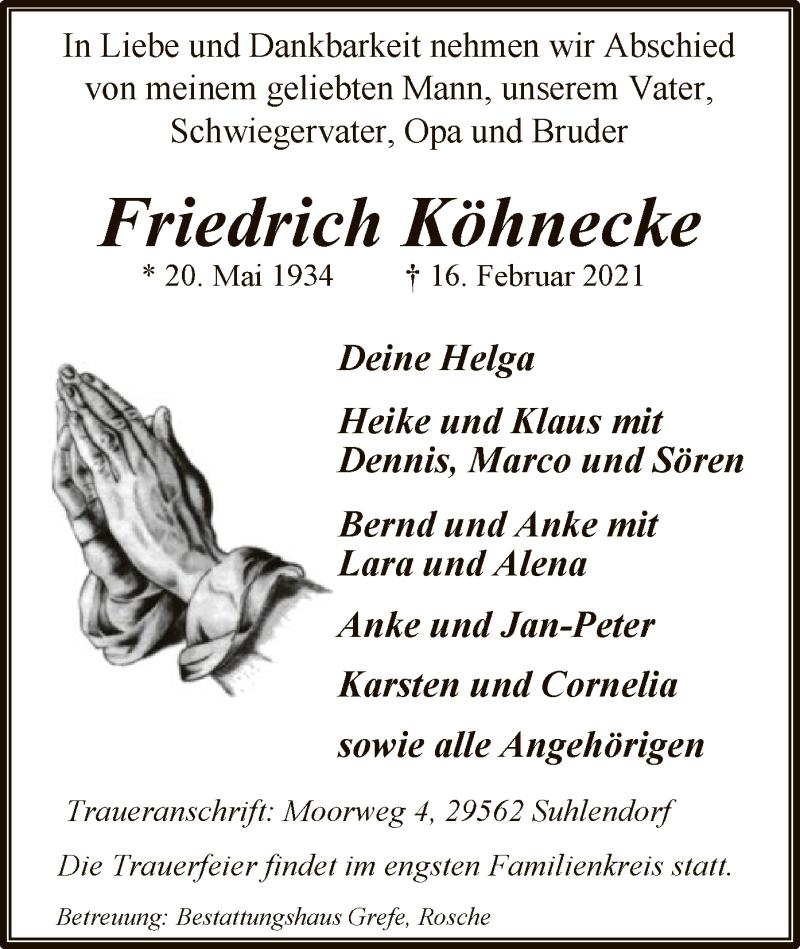 Traueranzeige für Friedrich Köhnecke vom 20.02.2021 aus UEL