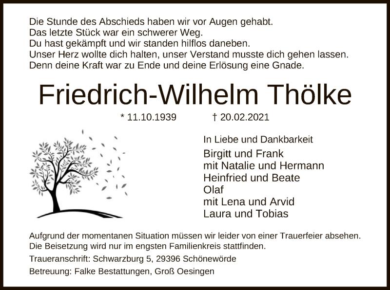 Traueranzeige für Friedrich-Wilhelm Thölke vom 24.02.2021 aus UEL