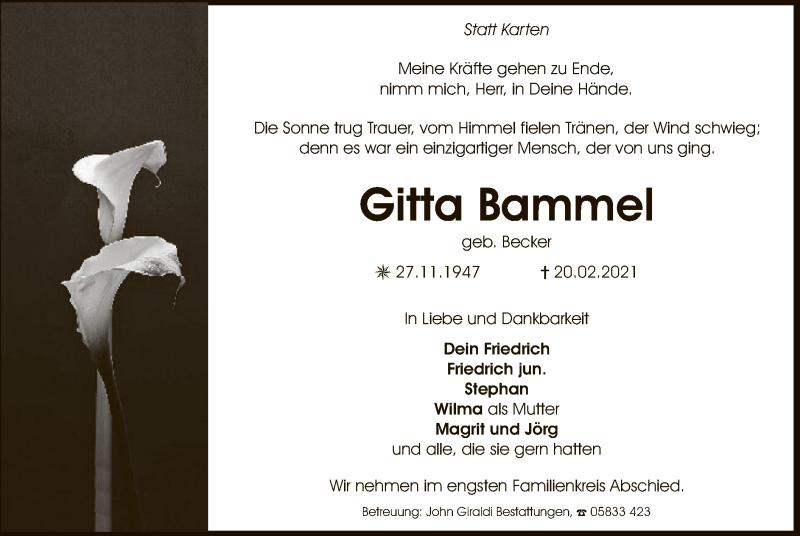 Traueranzeige für Gitta Bammel vom 27.02.2021 aus UEL