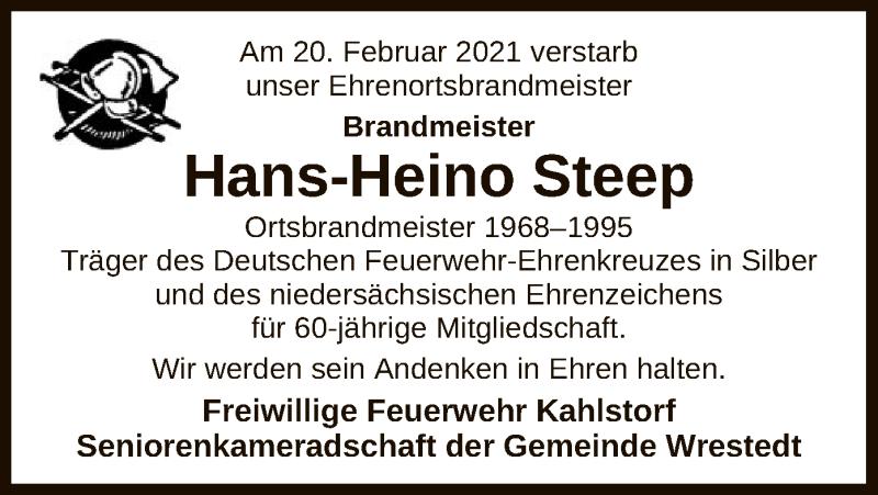 Traueranzeige für Hans-Heino Steep vom 27.02.2021 aus UEL