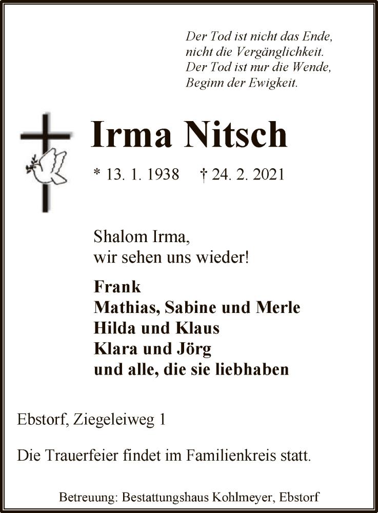 Traueranzeige für Irma Nitsch vom 27.02.2021 aus UEL