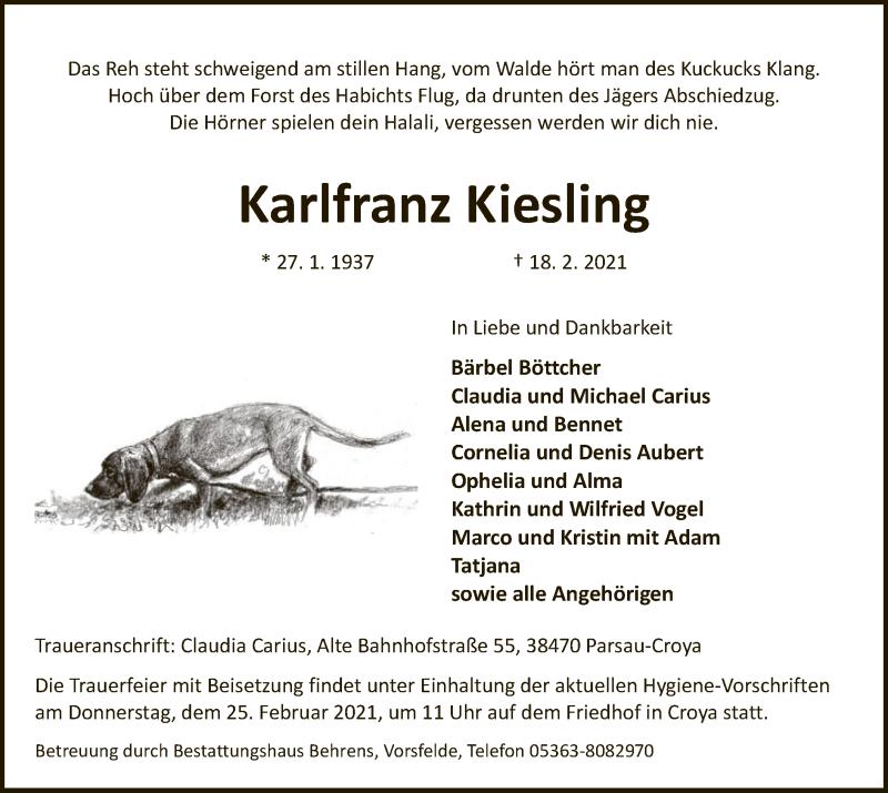 Traueranzeige für Karlfranz Kiesling vom 20.02.2021 aus UEL