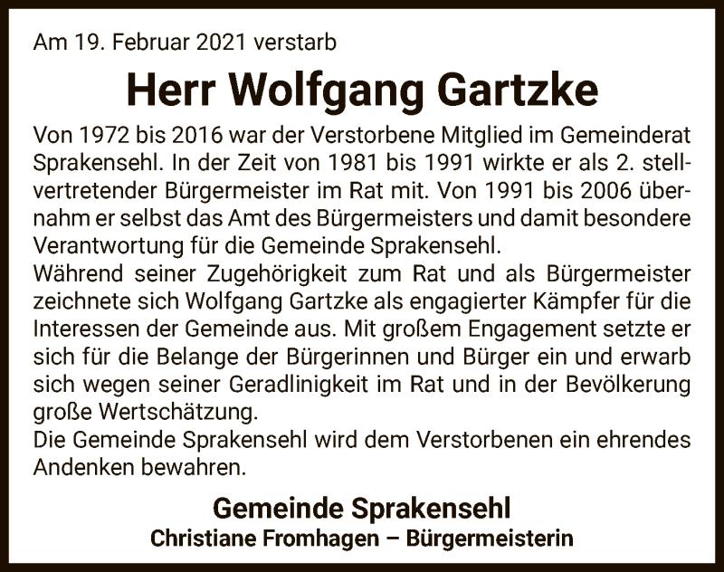 Traueranzeige für Wolfgang Gartzke vom 25.02.2021 aus UEL