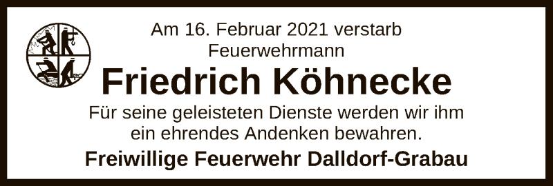 Traueranzeige für Friedrich Köhnecke vom 02.03.2021 aus UEL