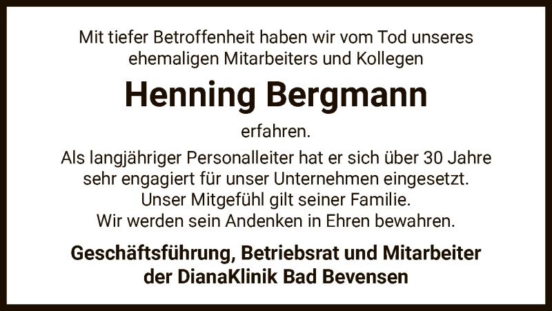 Traueranzeige für Henning Bergmann vom 06.03.2021 aus UEL