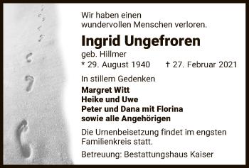 Traueranzeige von Ingrid Ungefroren von UEL