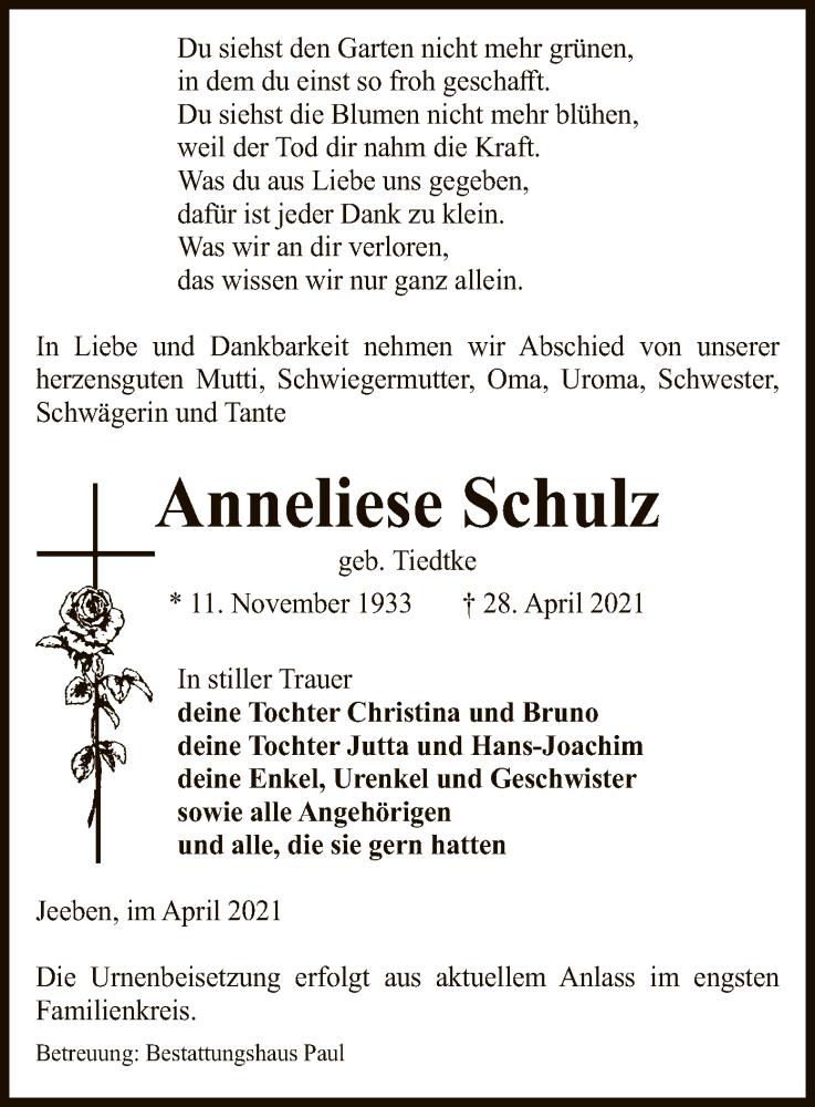 Traueranzeige für Anneliese Schulz vom 30.04.2021 aus UEL