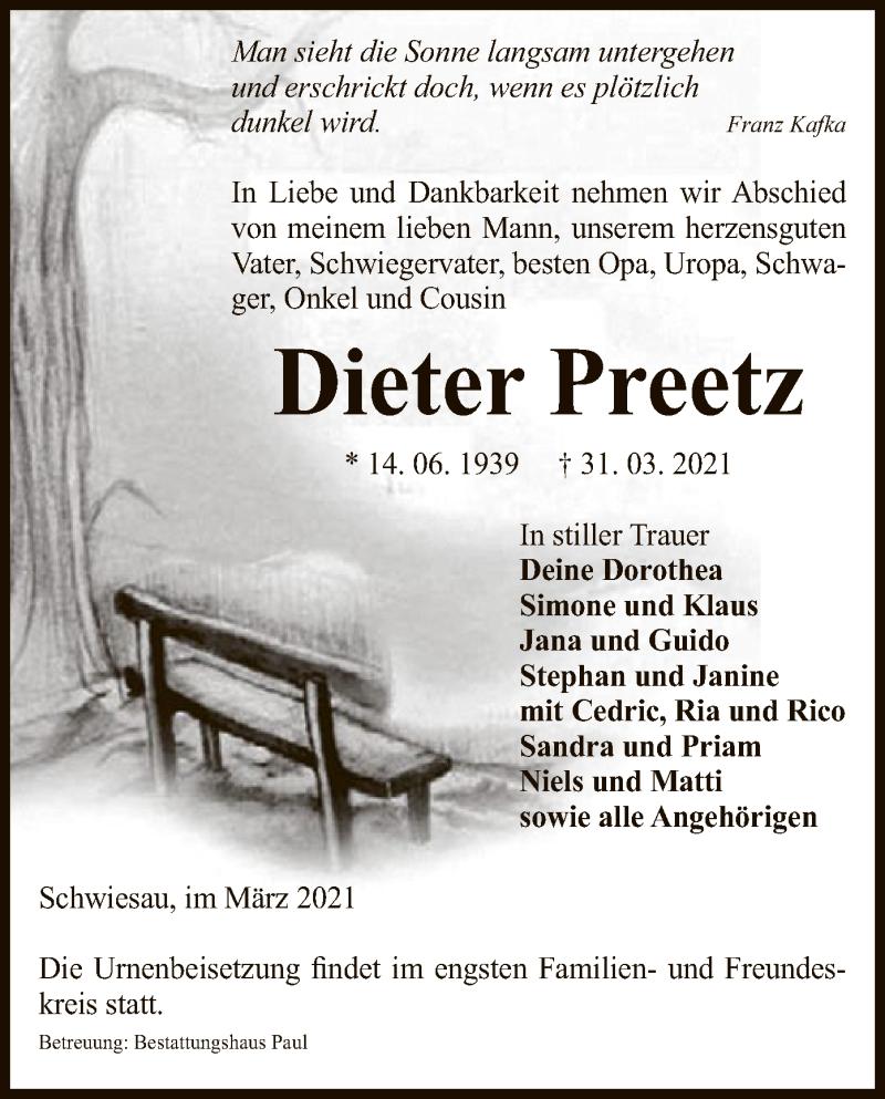 Traueranzeige für Dieter Preetz vom 07.04.2021 aus UEL