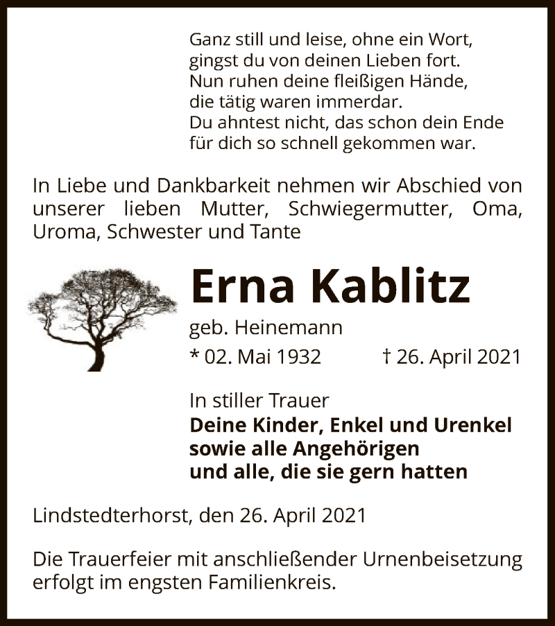Traueranzeige für Erna Kablitz vom 29.04.2021 aus UEL