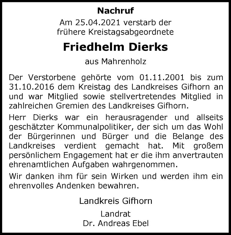 Traueranzeige für Friedhelm Dierks vom 30.04.2021 aus UEL