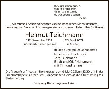 Traueranzeige von Helmut Teichmann von UEL