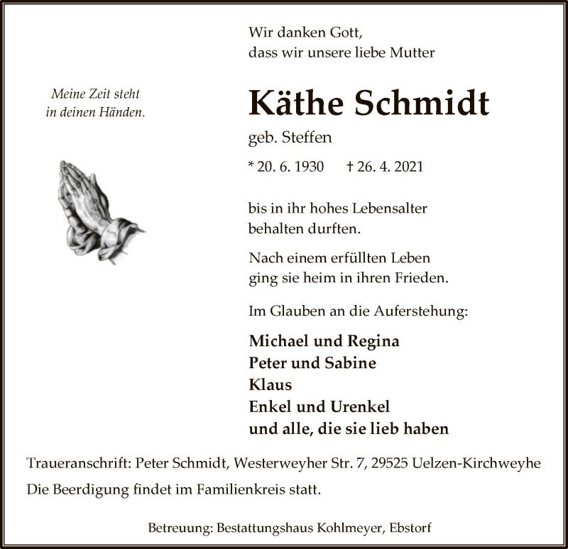 Traueranzeige für Käthe Schmidt vom 30.04.2021 aus UEL