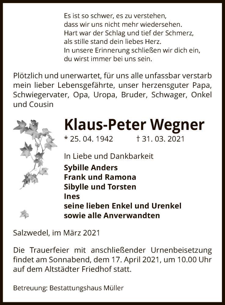 Traueranzeige für Klaus-Peter Wegner vom 01.04.2021 aus UEL
