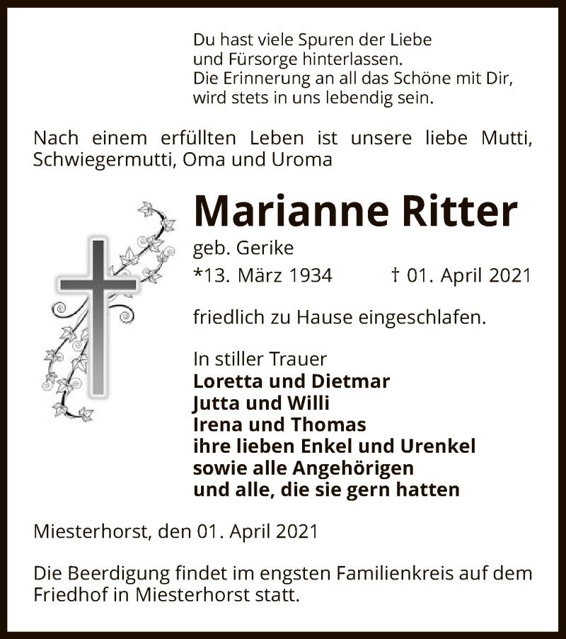 Traueranzeige für Marianne Ritter vom 07.04.2021 aus UEL