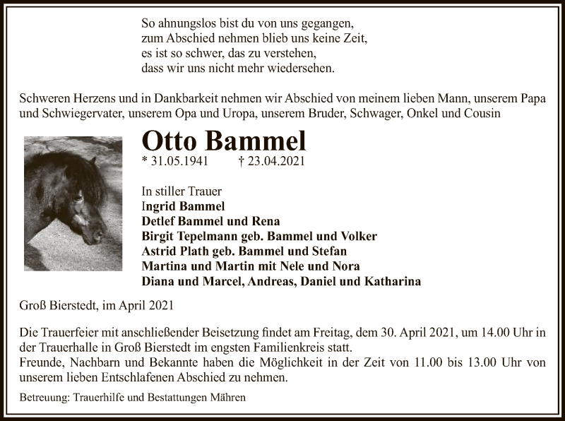 Traueranzeige für Otto Bammel vom 28.04.2021 aus UEL