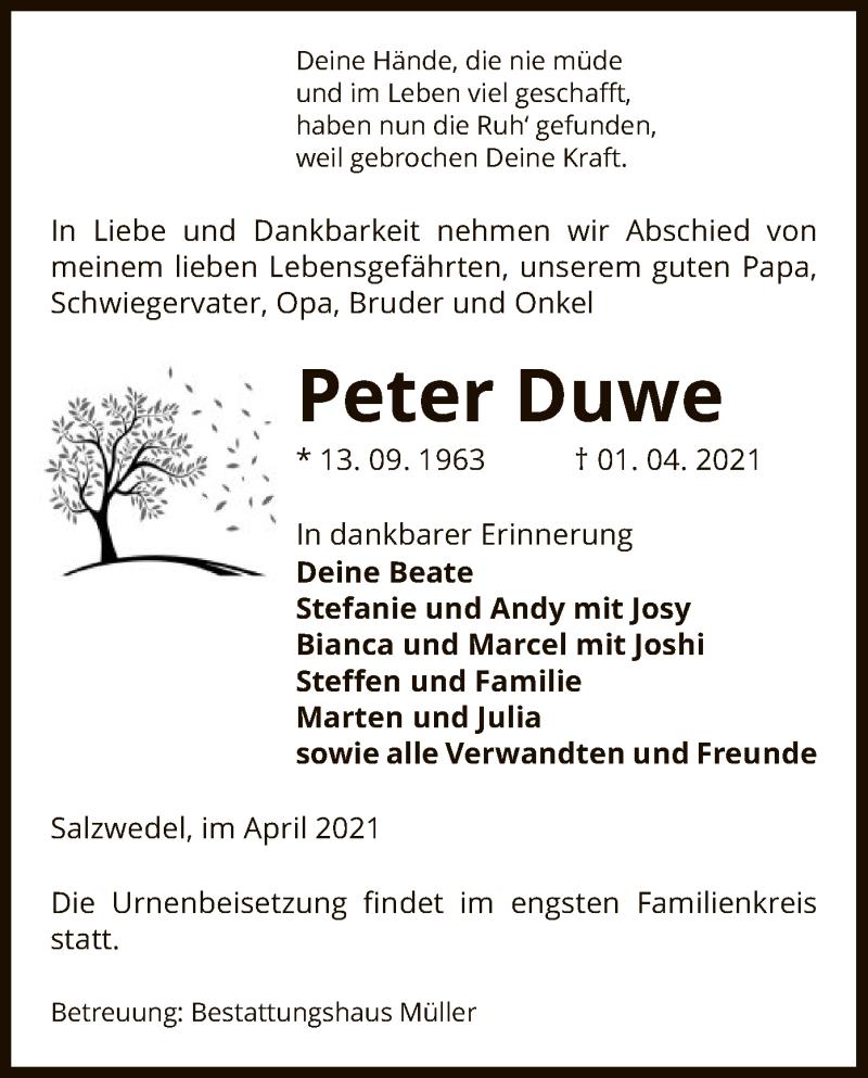Traueranzeige für Peter Duwe vom 07.04.2021 aus UEL