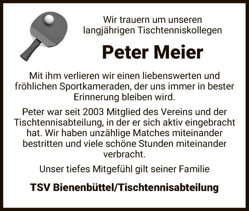 Traueranzeige für Peter Meier vom 03.04.2021 aus UEL