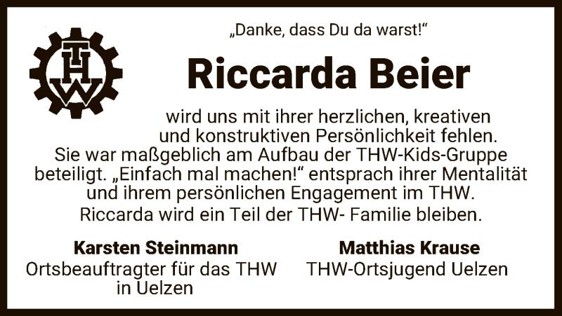 Traueranzeige für Riccarda Beier vom 08.04.2021 aus UEL