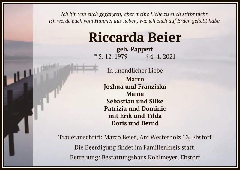 Traueranzeige für Riccarda Beier vom 07.04.2021 aus UEL