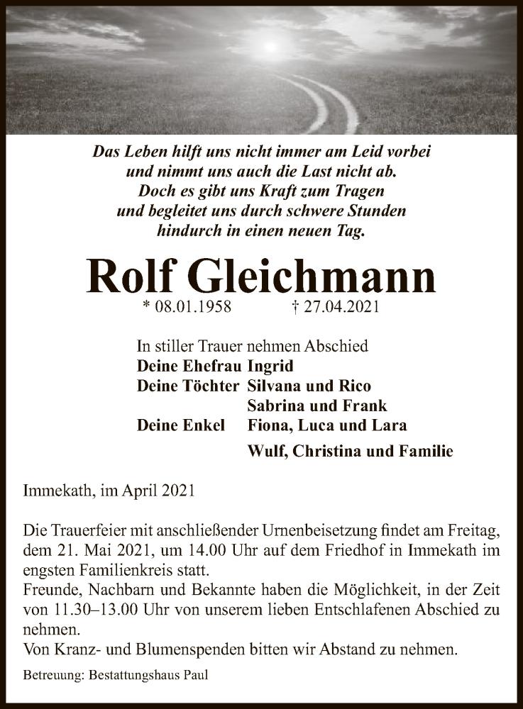 Traueranzeige für Rolf Gleichmann vom 30.04.2021 aus UEL
