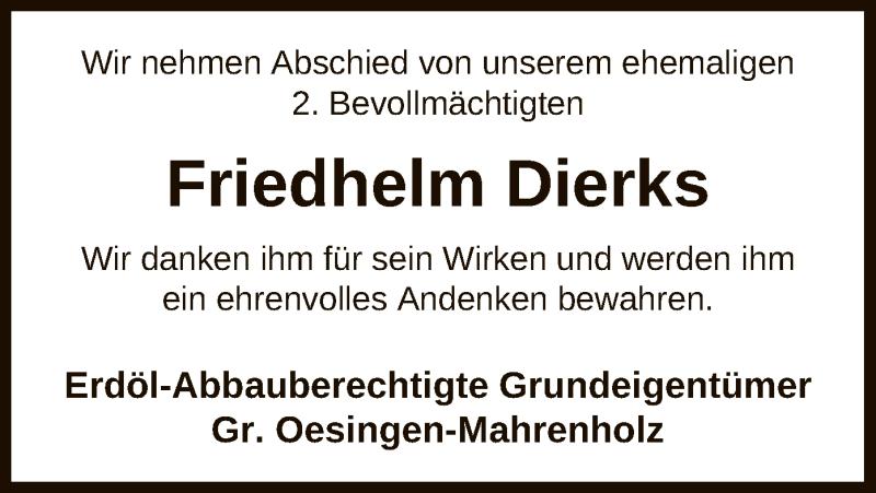 Traueranzeige für Friedhelm Dierks vom 05.05.2021 aus UEL