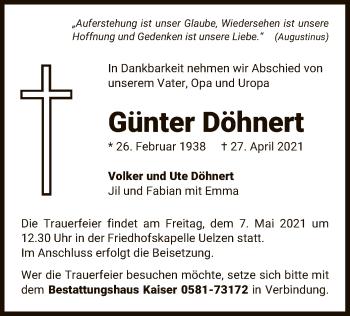 Traueranzeige von Günter Döhnert von UEL
