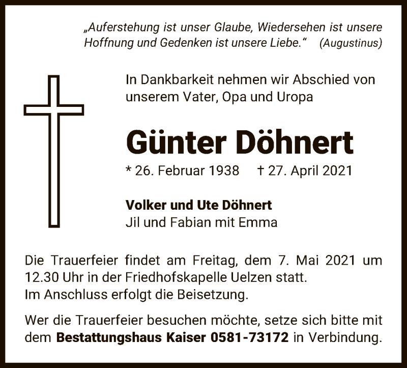 Traueranzeige für Günter Döhnert vom 04.05.2021 aus UEL