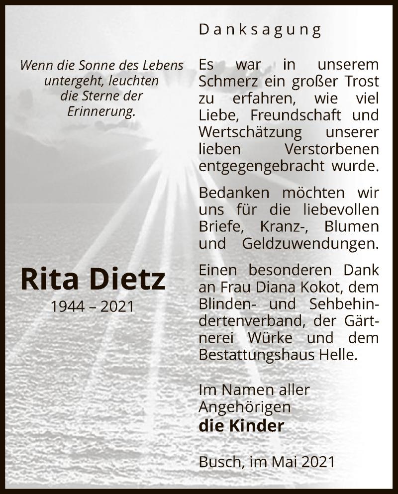 Traueranzeige für Rita Dietz vom 12.05.2021 aus UEL