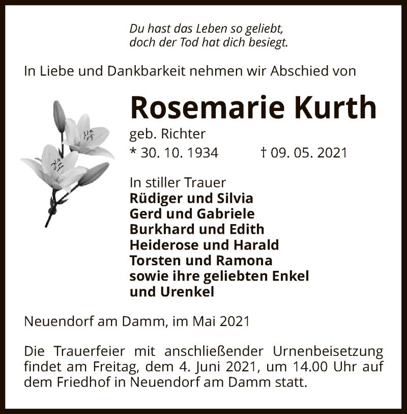 Traueranzeige für Rosemarie Kurth vom 15.05.2021 aus UEL