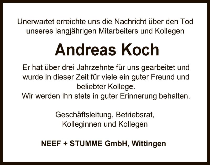 Traueranzeige für Andreas Koch vom 12.06.2021 aus UEL