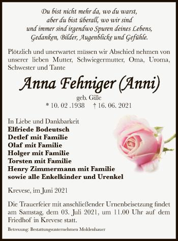 Traueranzeige von Anna  Fehniger von UEL