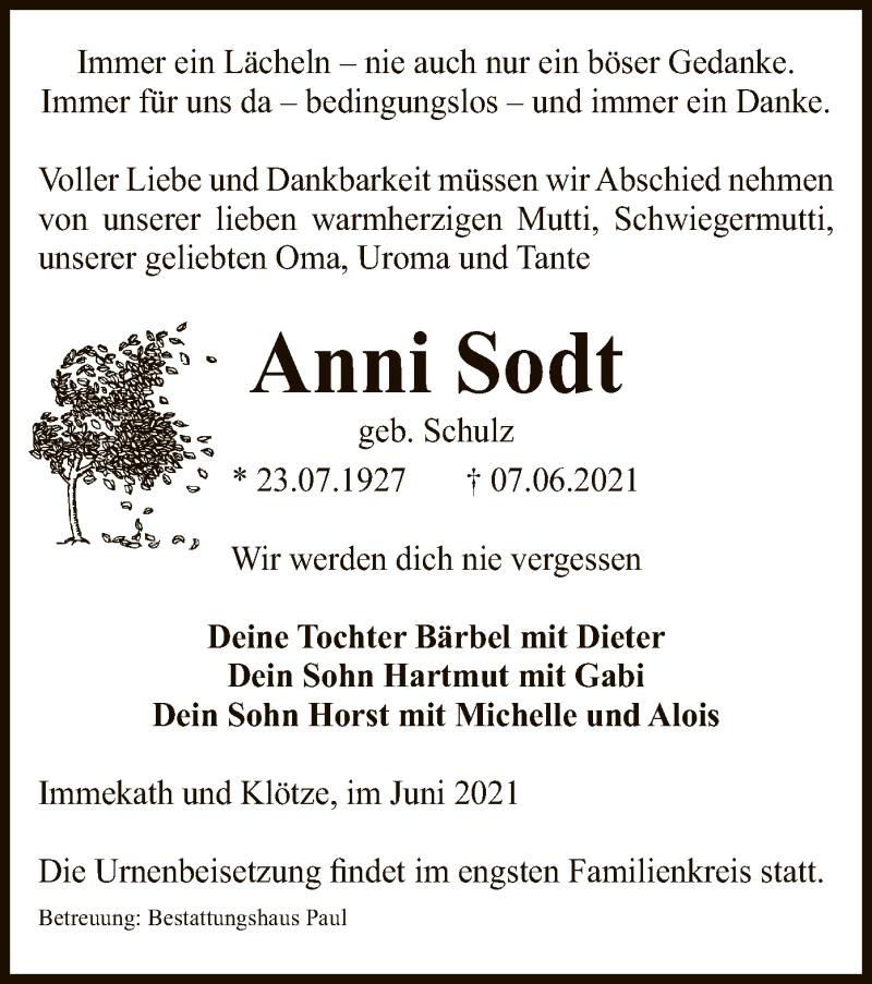 Traueranzeige für Anni Sodt vom 10.06.2021 aus UEL