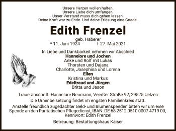 Traueranzeige von Edith Frenzel von UEL