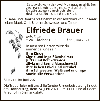 Traueranzeige von Elfriede Brauer von UEL