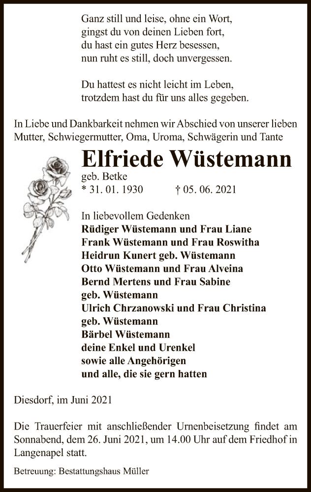 Traueranzeige für Elfriede Wüstemann vom 09.06.2021 aus UEL