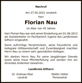 Traueranzeige von Florian Nau von UEL