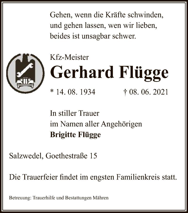 Traueranzeige für Gerhard Flügge vom 10.06.2021 aus UEL