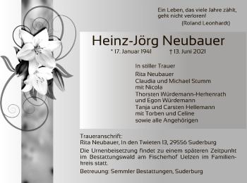 Traueranzeige von Heinz-Jörg Neubauer von UEL