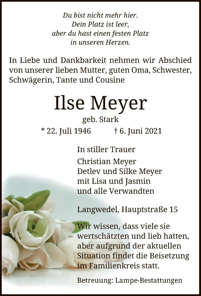 Traueranzeige für Ilse Meyer vom 09.06.2021 aus UEL