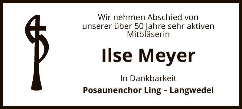 Traueranzeige für Ilse Meyer vom 11.06.2021 aus UEL
