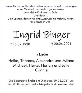 Traueranzeige von Ingrid Binger von UEL