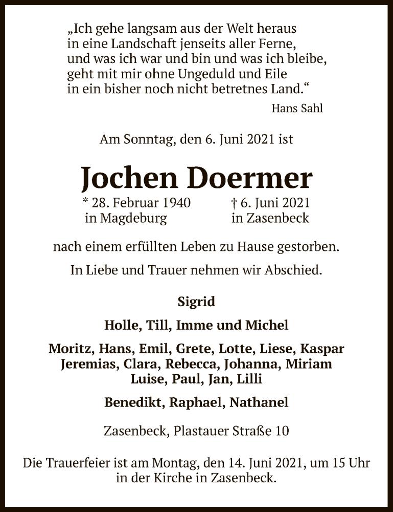 Traueranzeige für Jochen Doermer vom 10.06.2021 aus UEL