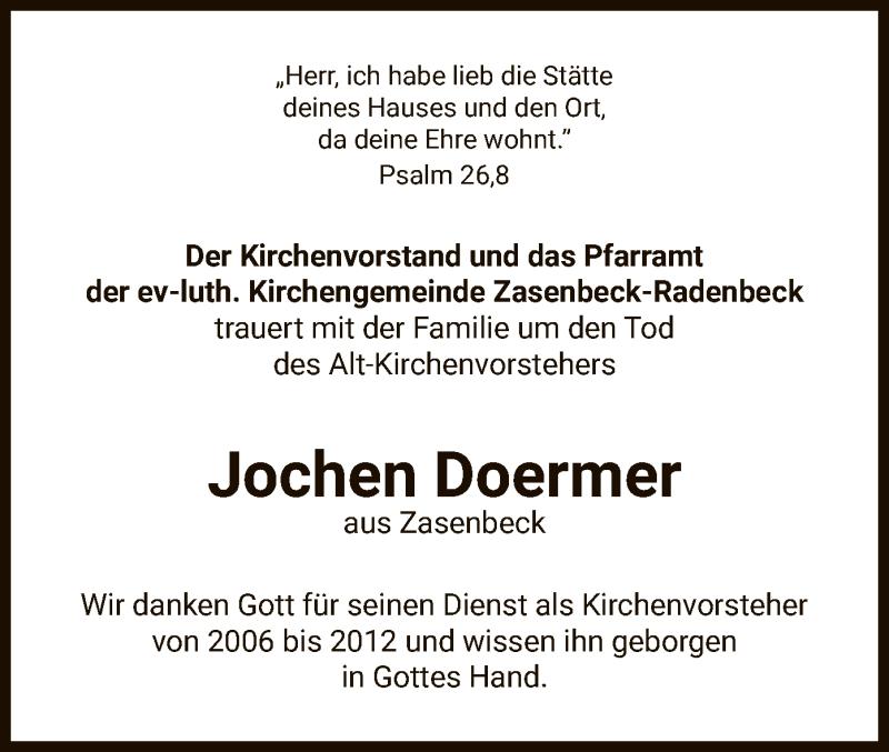 Traueranzeige für Jochen Doermer vom 12.06.2021 aus UEL