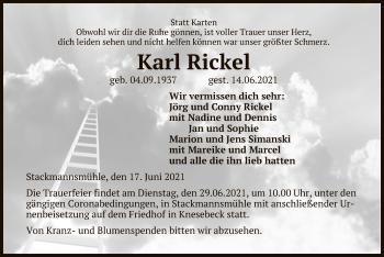 Traueranzeige von Karl Rickel von UEL